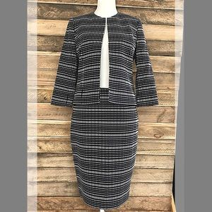 Kasper black and white pattern jacket and skirt